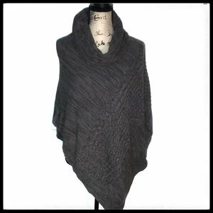 SONOMA PONCHO SWEATER Grey Cabled knit Cowl Neck